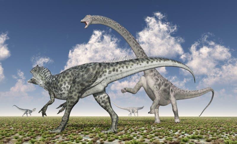 L'Allosaurus attaque le Diplodocus illustration libre de droits