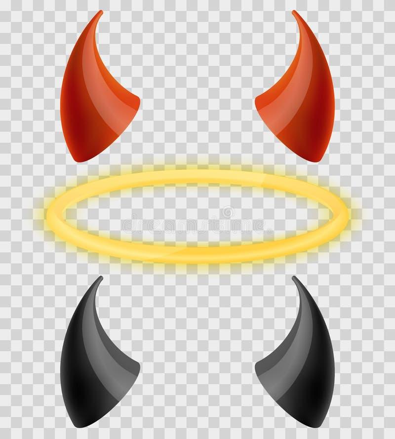 L'alone ed i diavoli di angeli anneriscono i corni rossi su fondo a quadretti trasparente Insieme di vettore illustrazione di stock