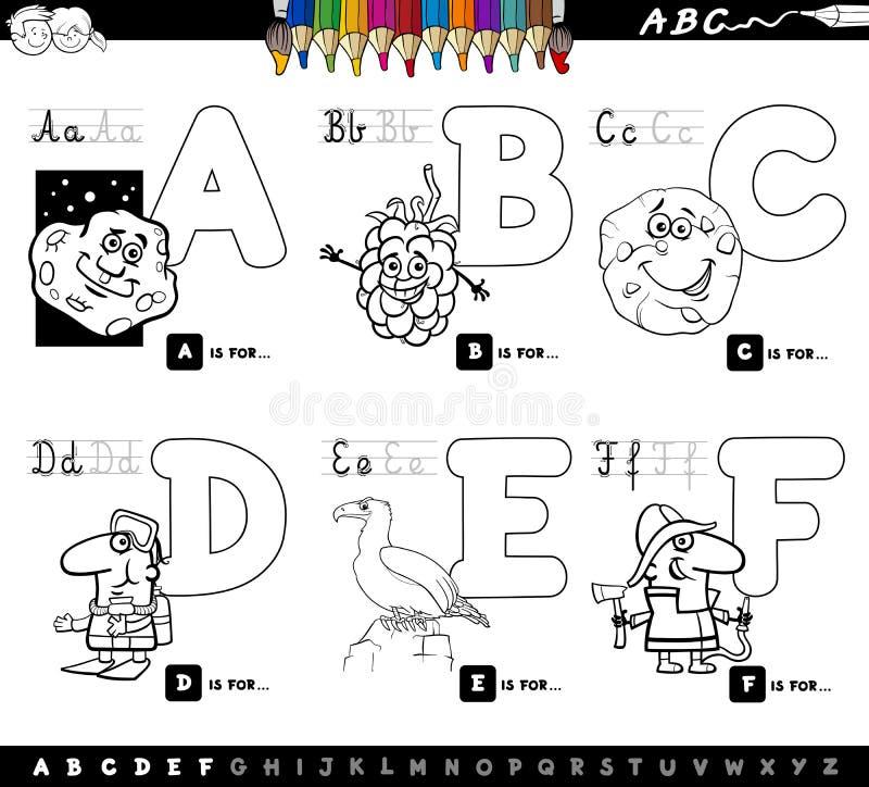 L'alphabet éducatif de bande dessinée marque avec des lettres livre de coloriage illustration libre de droits