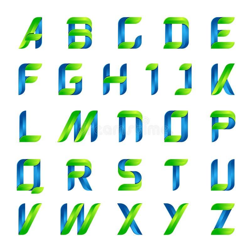 L'alphabet anglais d'écologie marque avec des lettres le vert et le bleu images stock