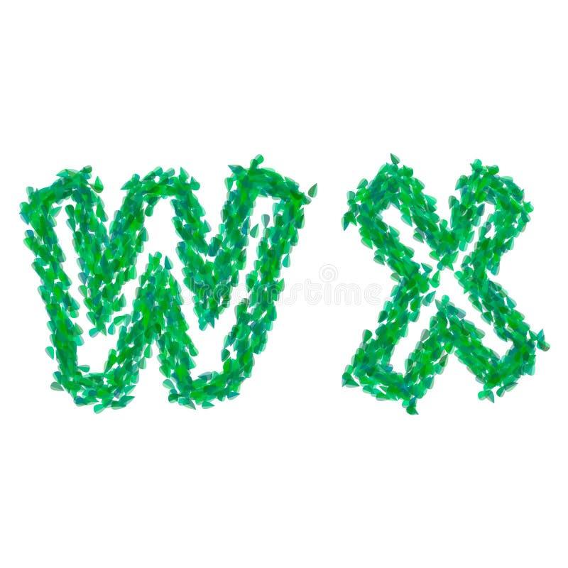 L'alphabet Anglais Fait Avec Les Feuilles Vertes, Thème D'été, Marque Avec  Des Lettres W X Illustration Stock - Illustration du herbe, zone: 88484192