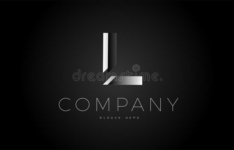 L alphabet argenté blanc noir 3d d'icône de conception de logo de lettre illustration stock