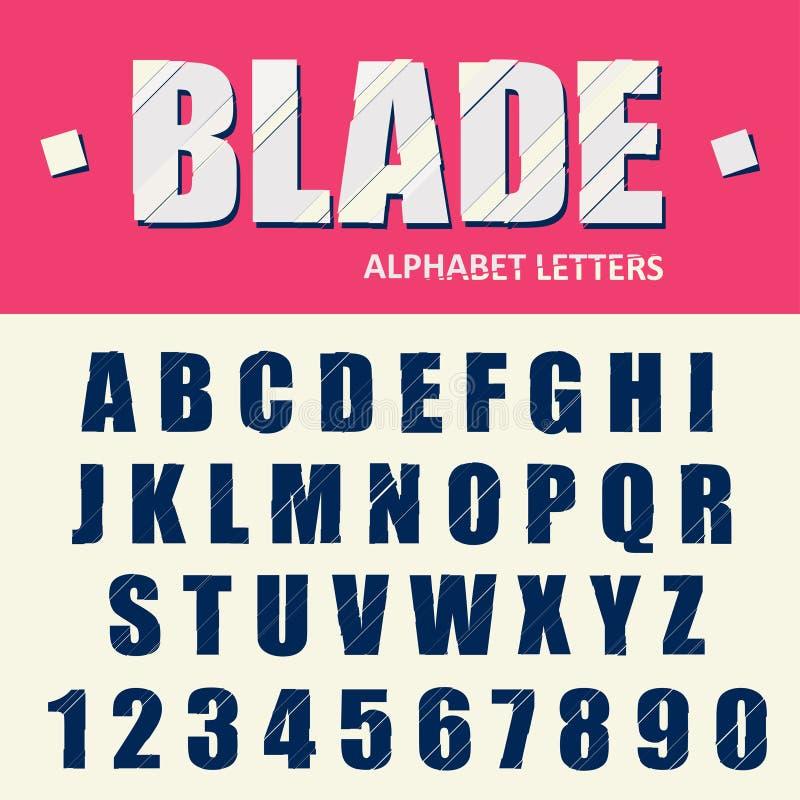 L'alphabet cassé, les lettres de problème et les nombres modernes ont stylisé la police Vecteur illustration stock
