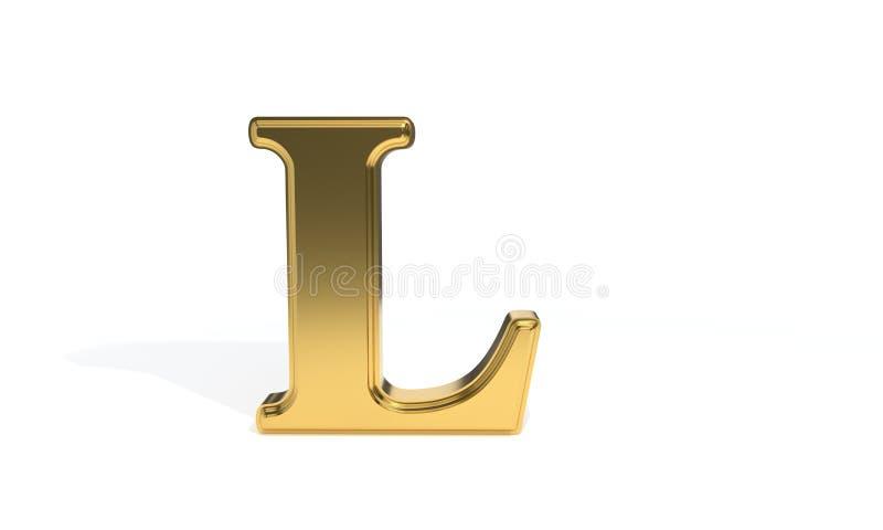 L alphabet coloré par or, rendu 3d illustration stock