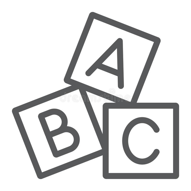 L'alphabet cube la ligne icône, ABC et jouet, signe de bloc, les graphiques de vecteur, un modèle linéaire sur un fond blanc illustration de vecteur