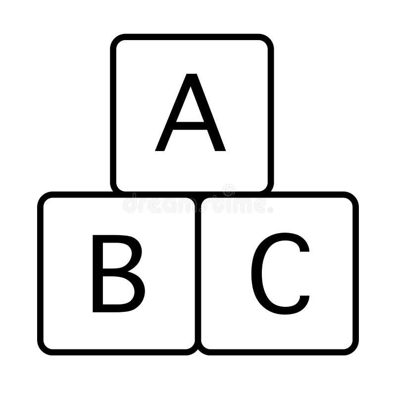 L'alphabet cube la ligne mince icône Illustration éducative de vecteur de jouet d'isolement sur le blanc ABC bloque le style d'en illustration libre de droits