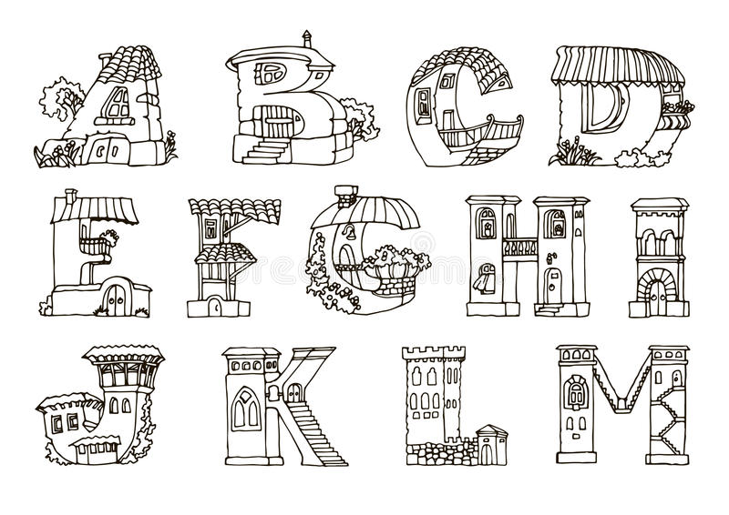 L'alphabet d'anglais, lettres dans les maisons forment Les FO tirées par la main images libres de droits