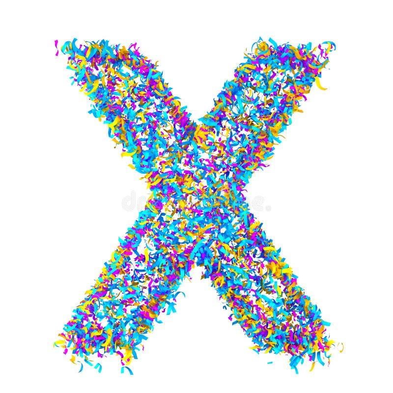 L'alphabet de fête des confettis colorés d'isolement sur le fond blanc marquent avec des lettres X rendu 3d illustration de vecteur