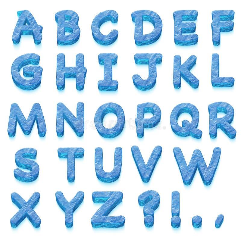 L'alphabet de glace sur le blanc illustration stock