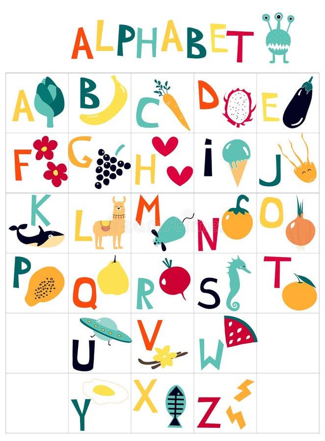L'alphabet des enfants anglais avec des images de bande dessinée sur le thème du fruit, légumes, animaux illustration libre de droits