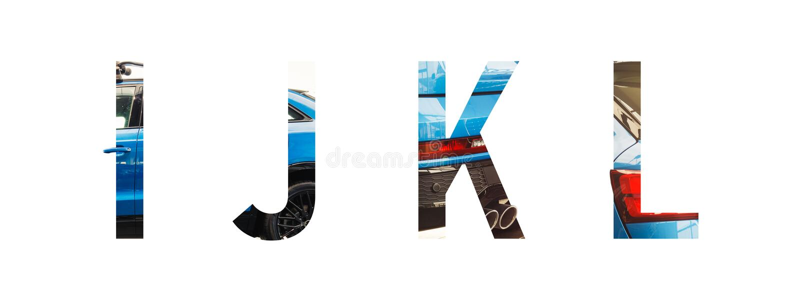L'alphabet des véhicules à moteur i, j, k, l de police a fait de la voiture bleue moderne avec le papier précieux a coupé la form images libres de droits