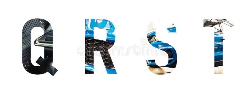 L'alphabet des véhicules à moteur q, r, s, t de police a fait de la voiture bleue moderne avec le papier précieux a coupé la form photographie stock
