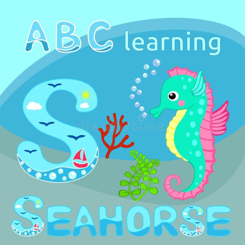 L'alphabet drôle S d'animal de mer est pour l'hippocampe mignon de bande dessinée d'hippocampe, branche de corail rouge et les al illustration stock