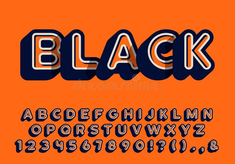 l'alphabet du cru 3d, a arrondi la rétro police dénommée de caractère sans obit et sans empattement illustration libre de droits
