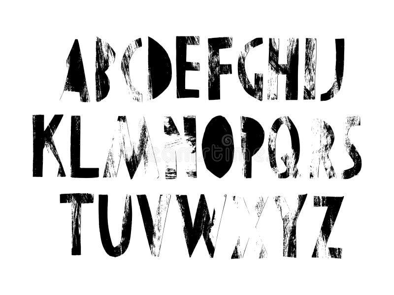 L'alphabet entier, lettres a coupé du papier avec une texture fabriquée à la main Les graphiques noirs et blancs, vous pouvez emp illustration stock