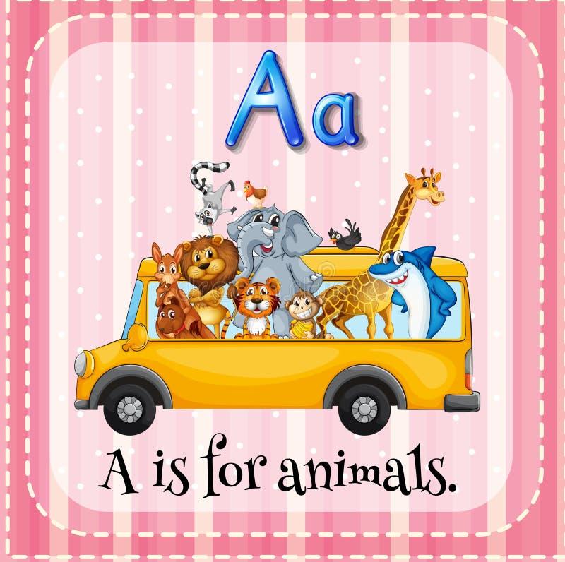 L'alphabet A est pour des animaux illustration stock