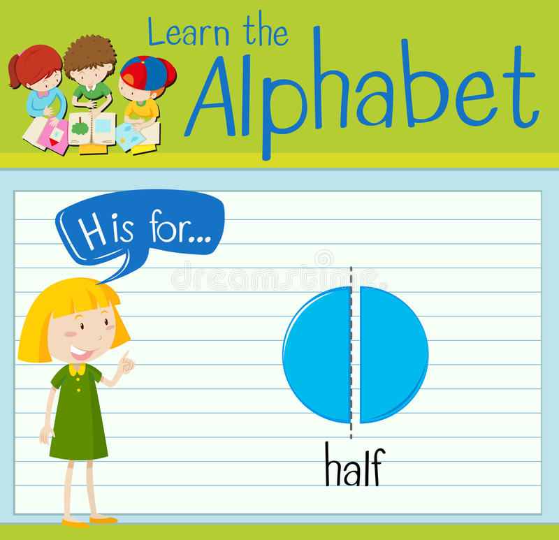 L'alphabet H de Flashcard est pour la moitié illustration stock