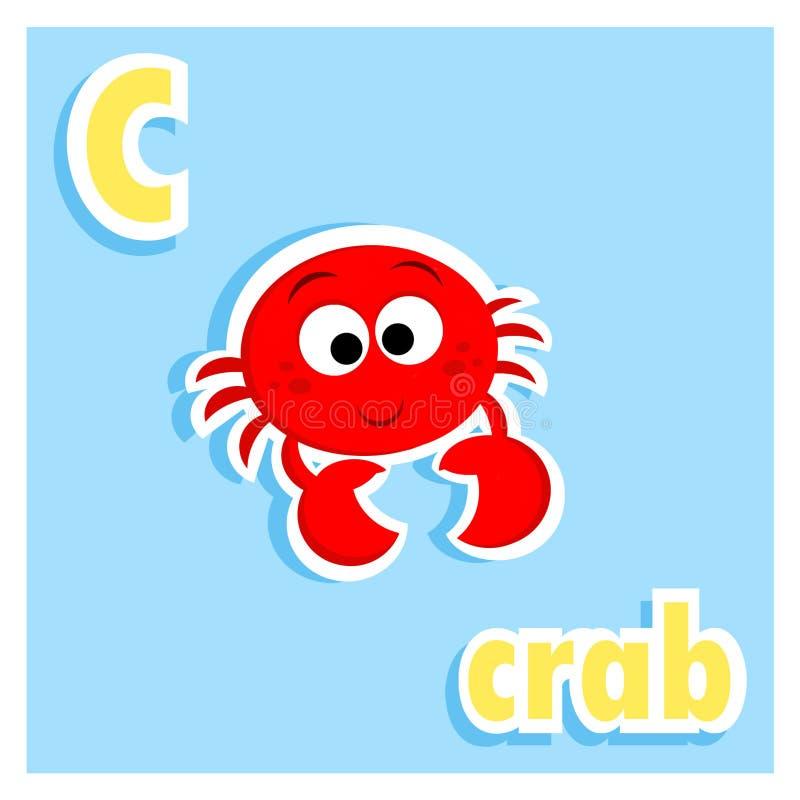 L'alphabet imprimable adorable marque avec des lettres - la lettre C - l'illustration - crabe rouge mignon illustration de vecteur