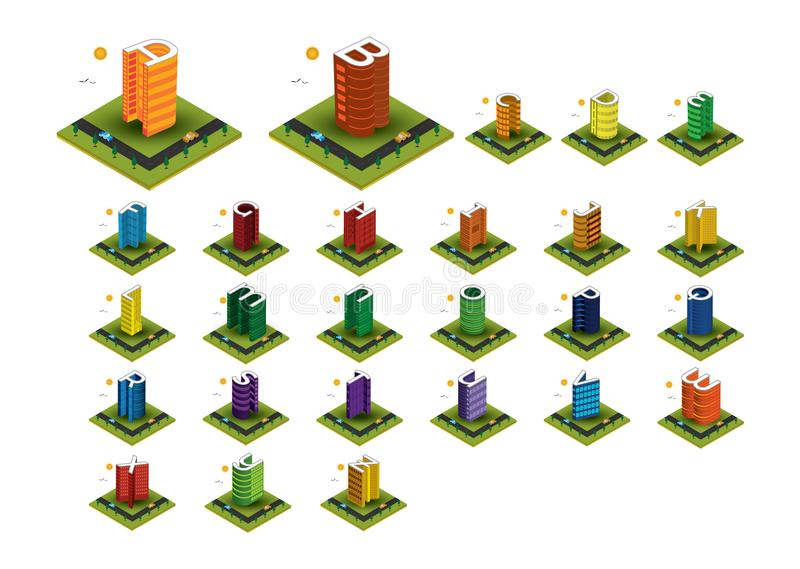 L'alphabet isométrique coloré de bâtiment marque avec des lettres le vecteur photographie stock libre de droits