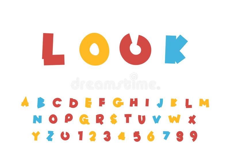 L'alphabet lumineux des enfants mignons, illustration de vecteur de bande dessinée d'ABC, ensemble de conception de lettre illustration stock