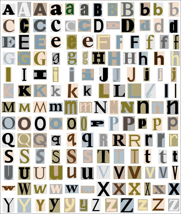 L'alphabet marque avec des lettres le type de revue et de journal illustration libre de droits