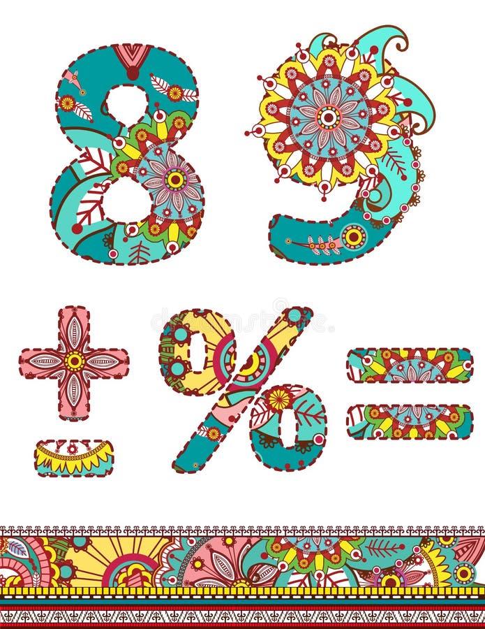 L'alphabet numérote le rétro style floral. Vecteur. illustration libre de droits