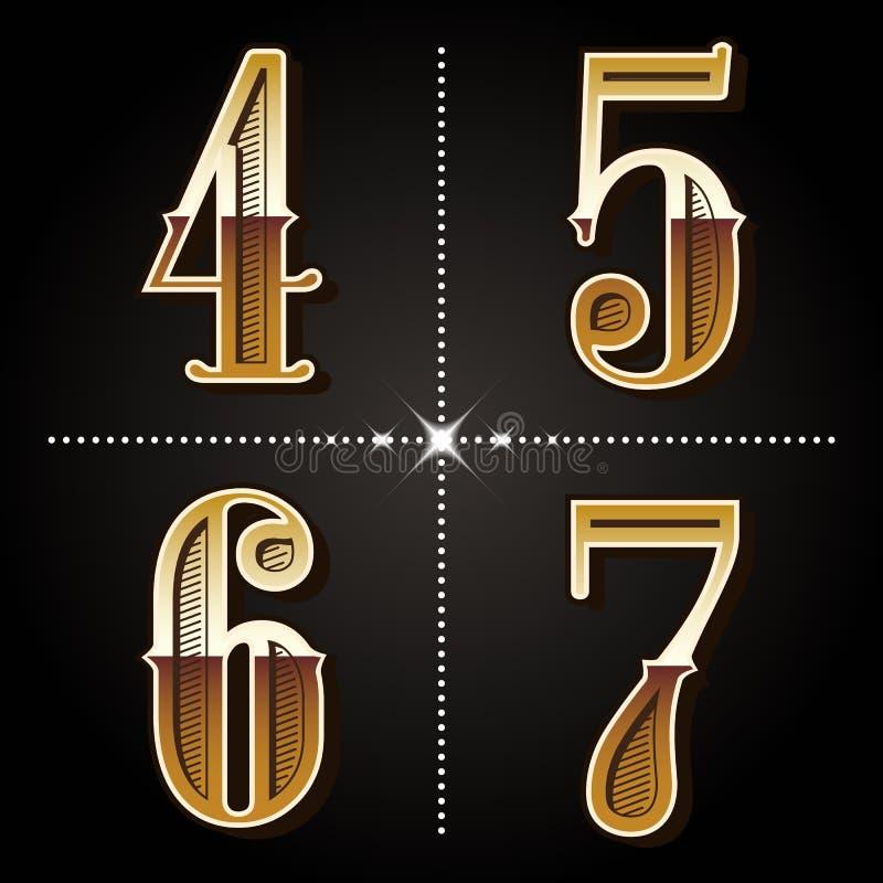 L'alphabet occidental de gradient marque avec des lettres le vecteur 4,5,6 de nombres de vintage, illustration stock