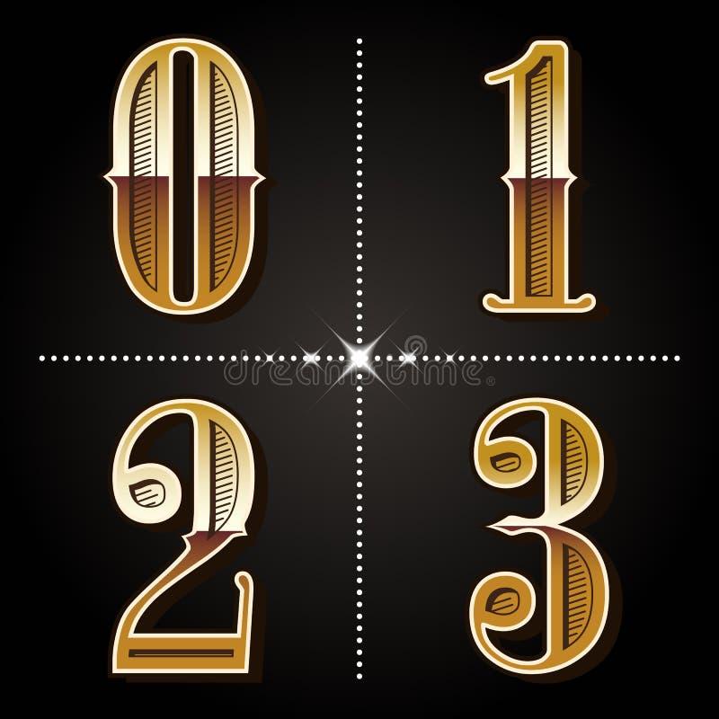 L'alphabet occidental de gradient marque avec des lettres le vecteur 0,1,2 de nombres de vintage, illustration de vecteur