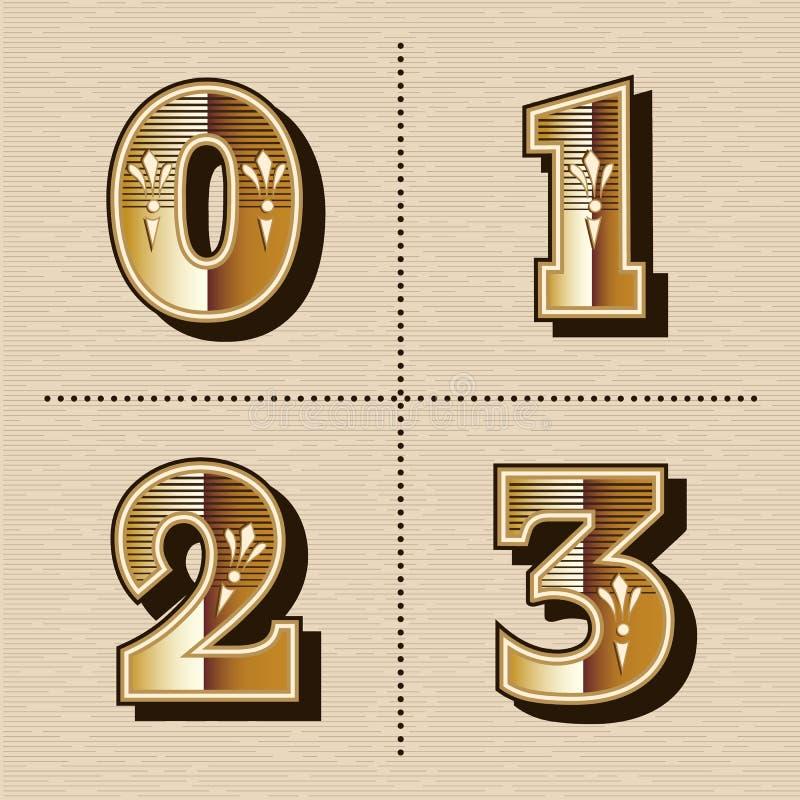 L'alphabet occidental de nombres de vintage marque avec des lettres le vecteur de création de fonte illustration de vecteur