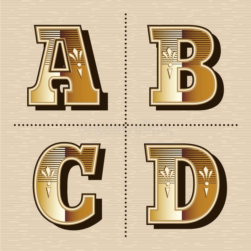 L'alphabet occidental de vintage marque avec des lettres l'illustration de vecteur de création de fonte illustration libre de droits