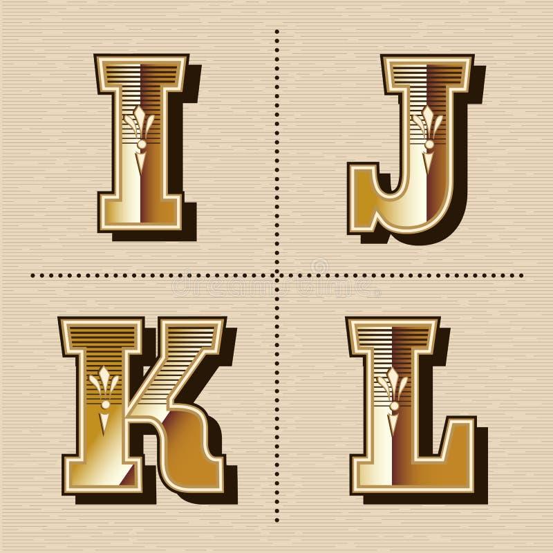L'alphabet occidental de vintage marque avec des lettres l'illustration de vecteur de création de fonte illustration de vecteur