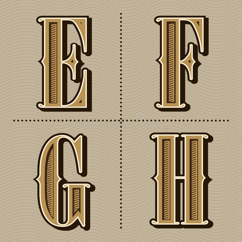 L'alphabet occidental marque avec des lettres le vintage pour diriger (e, f, g, h) illustration stock