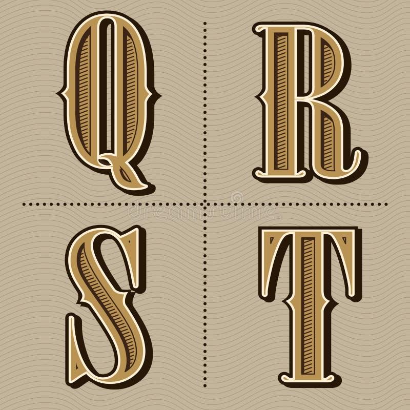 L'alphabet occidental marque avec des lettres le vintage pour diriger (q, r, s, t) illustration de vecteur