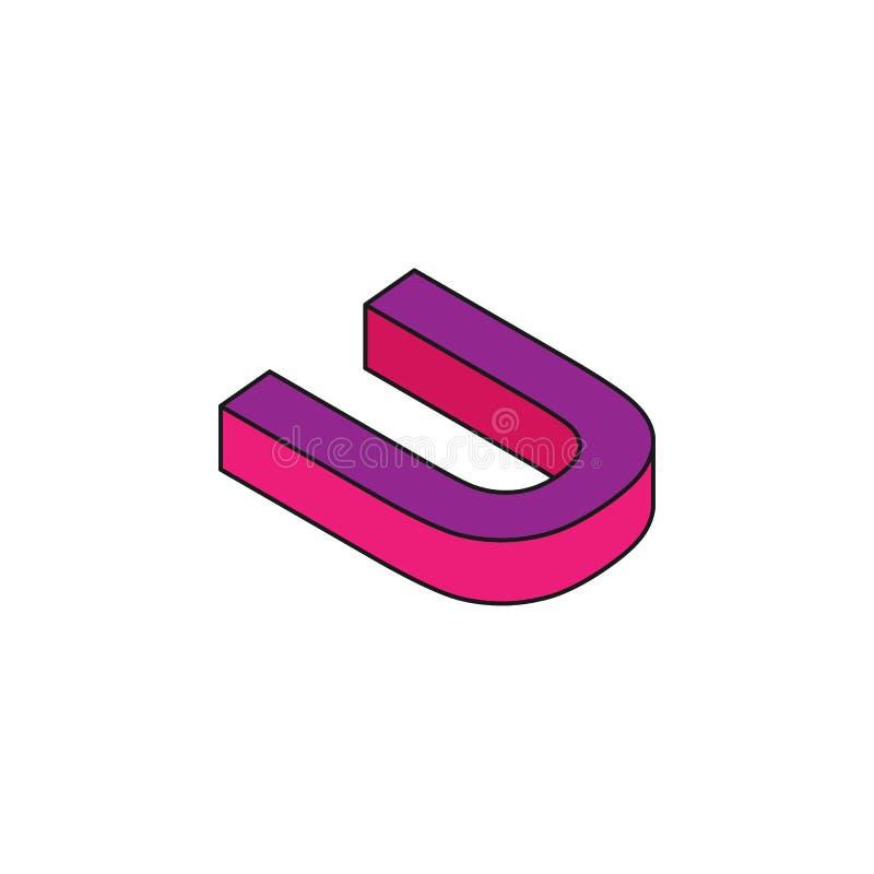 l'alphabet U, 3D a coloré l'icône isométrique Élément des mots 3d et de l'icône de symboles pour des applis mobiles de concept et illustration stock