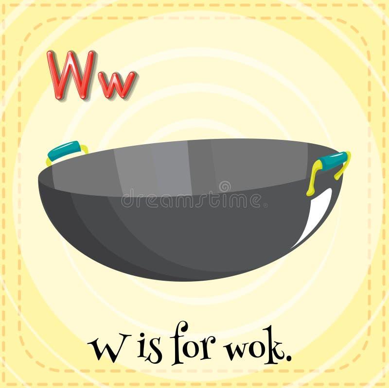 L'alphabet W est pour le wok illustration libre de droits