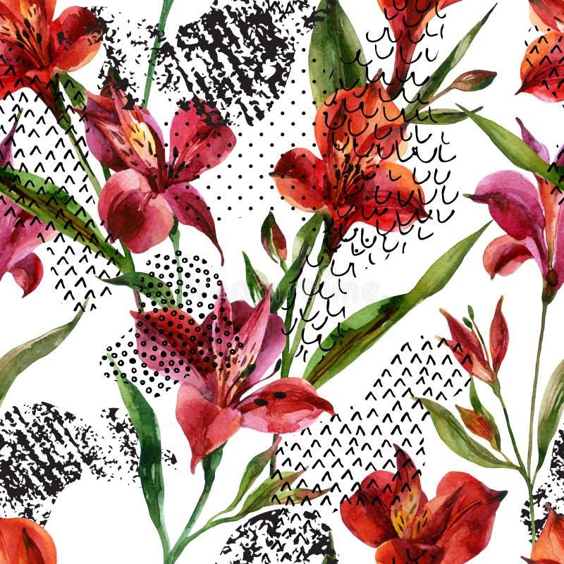 L'Alstroemeria d'aquarelle fleurit le modèle sans couture sur le fond blanc illustration stock