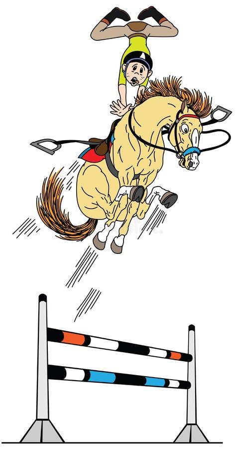 L'alto cavallo del fumetto salta sopra l'ostacolo royalty illustrazione gratis