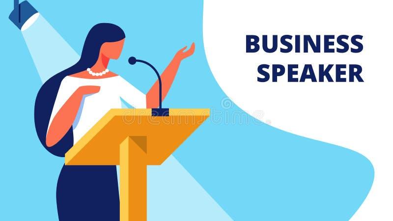 L'altoparlante di affari della donna sul podio legge il rapporto illustrazione vettoriale