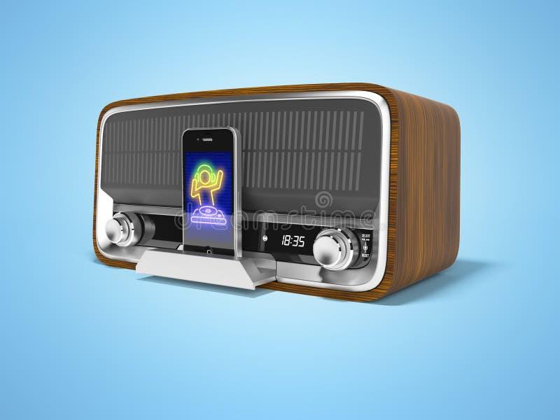 L'altoparlante portatile classico di concetto per ascoltare la musica dallo smartphone 3d rende l'illustrazione su fondo blu con  illustrazione di stock