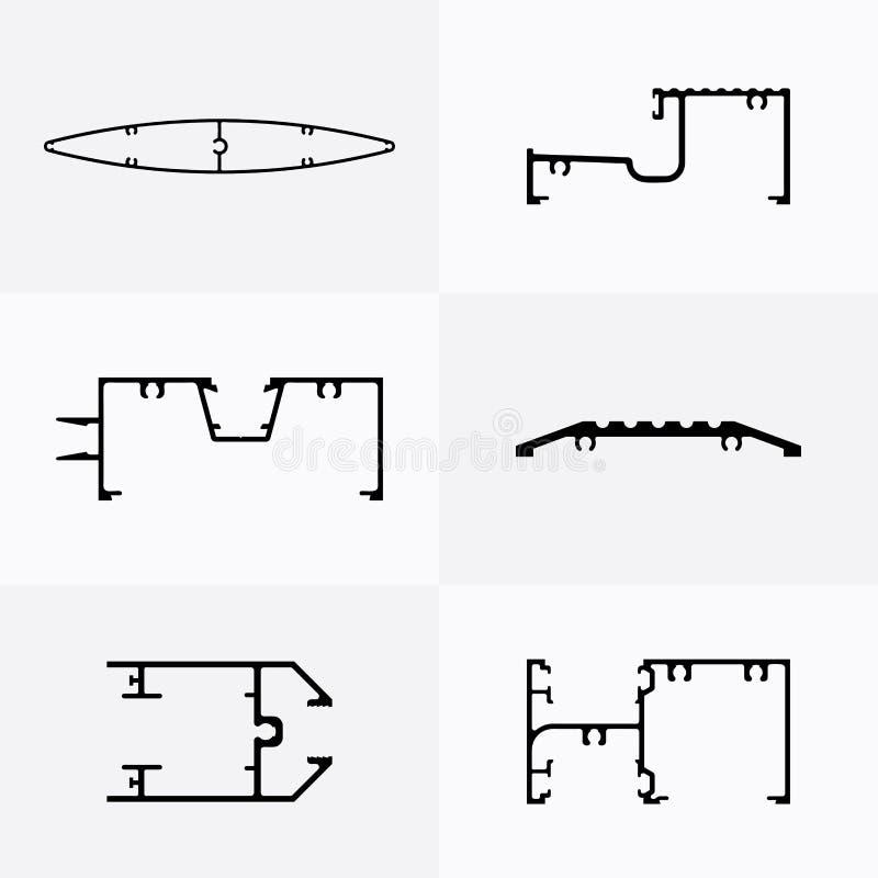 L'aluminium profile des icônes illustration libre de droits