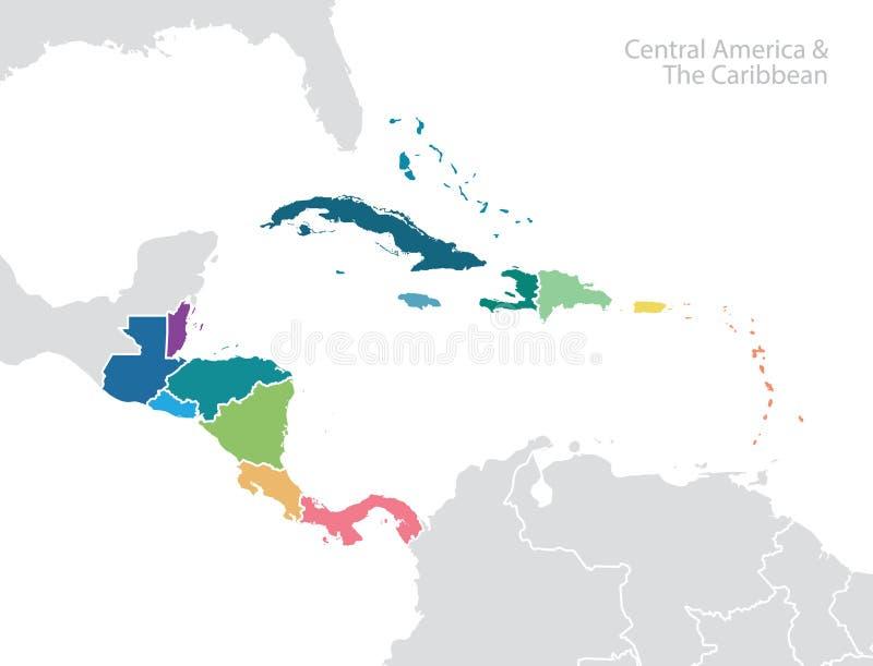 l'Amérique Centrale et la carte des Caraïbes illustration libre de droits