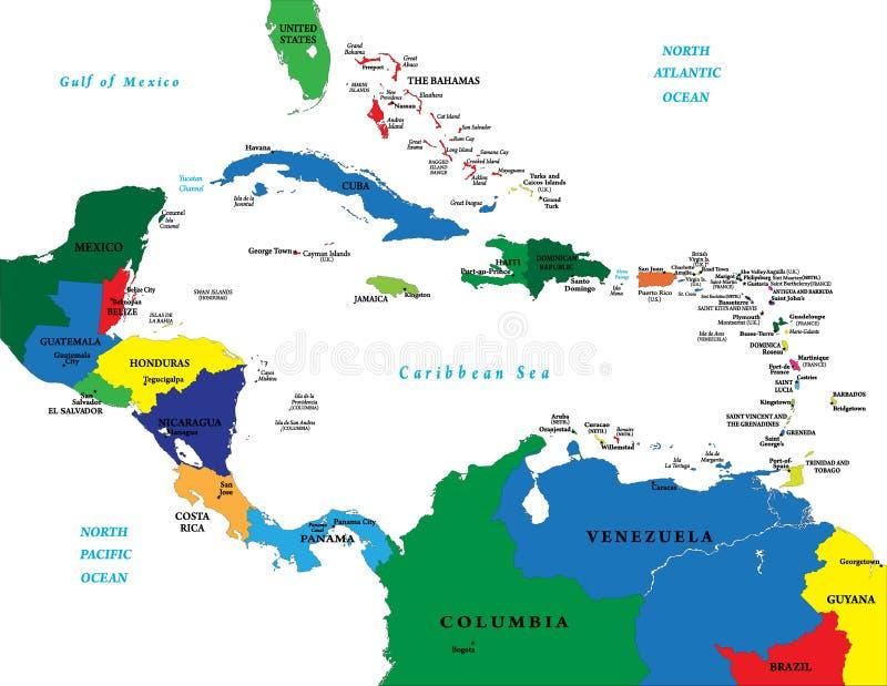 l'Amérique Centrale et la carte des Caraïbes illustration stock