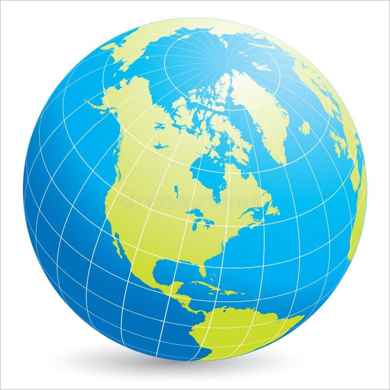 l'Amérique du Nord sur le globe du monde illustration de vecteur