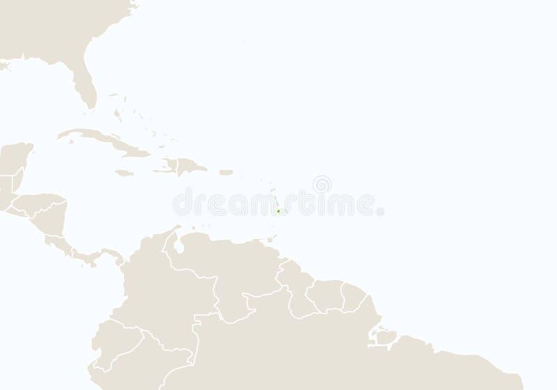 L'Amérique du Sud avec Saint-Vincent-et-les-Grenadines accentué illustration libre de droits