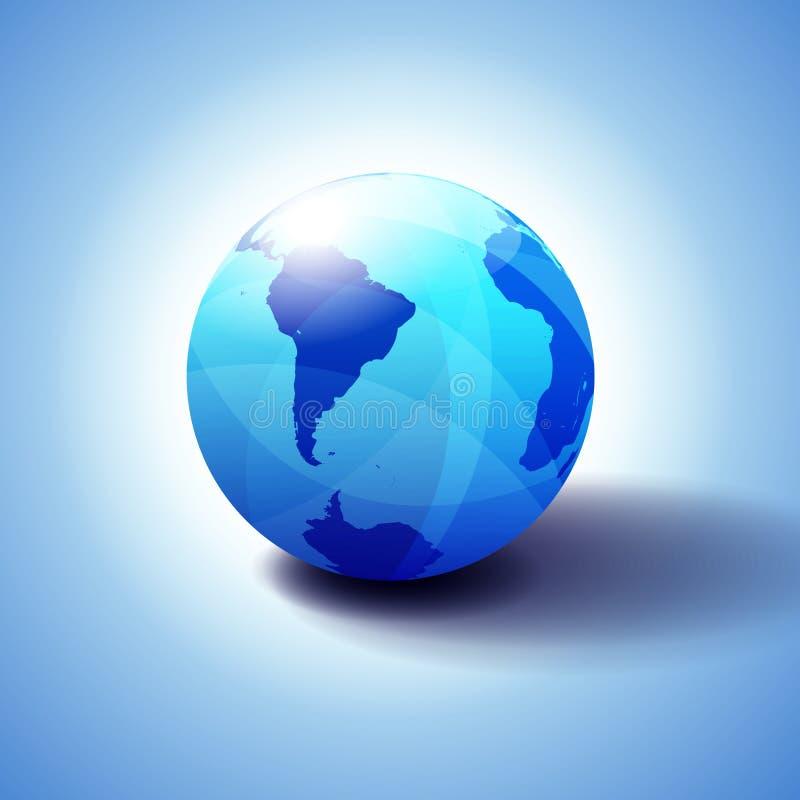 L'Amérique du Sud, Pôle du sud et monde global de l'Afrique, icône de globe illustration stock