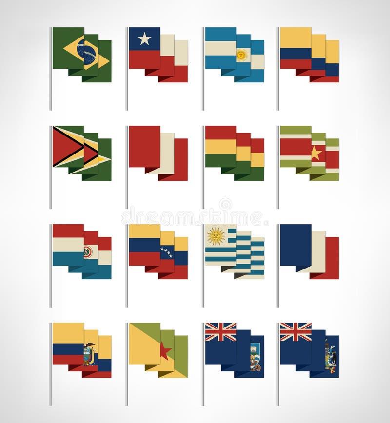 L'Amérique du Sud tous les drapeaux de pays continents réglés Conception plate illustration stock