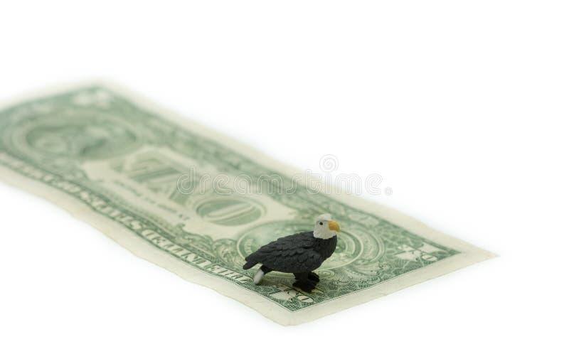 L'Amérique Eagle chauve et devise de dollar US, note d'argent photo libre de droits