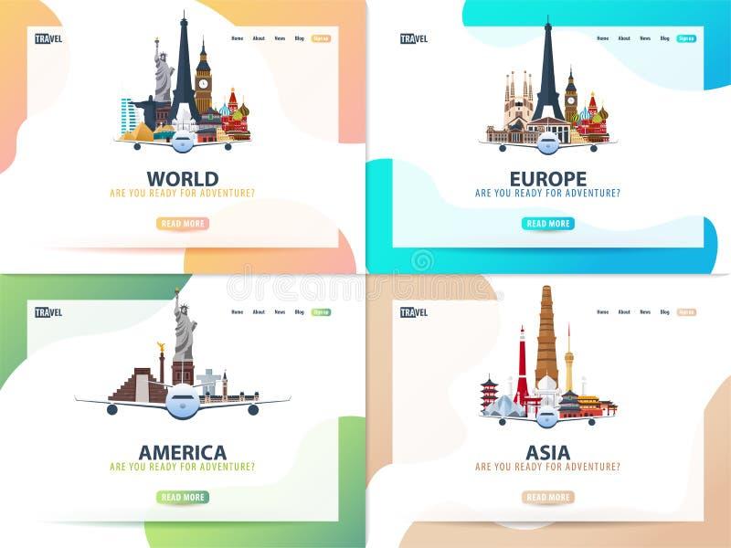L'Amérique, l'Europe, Asie, monde Ensemble de bannières de voyage ou calibre de Web pour le site Web ou la page d'atterrissage He illustration stock
