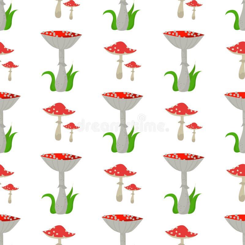 L'amanite sans couture de fond de modèle répand illustration fongueuse toxique de nourriture d'ensemble de saison toxique dangere illustration de vecteur