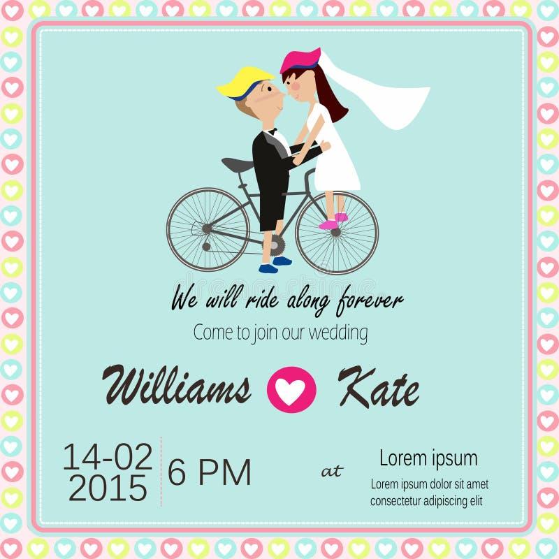 L'amant de bicyclette couple l'invitation de mariage illustration stock